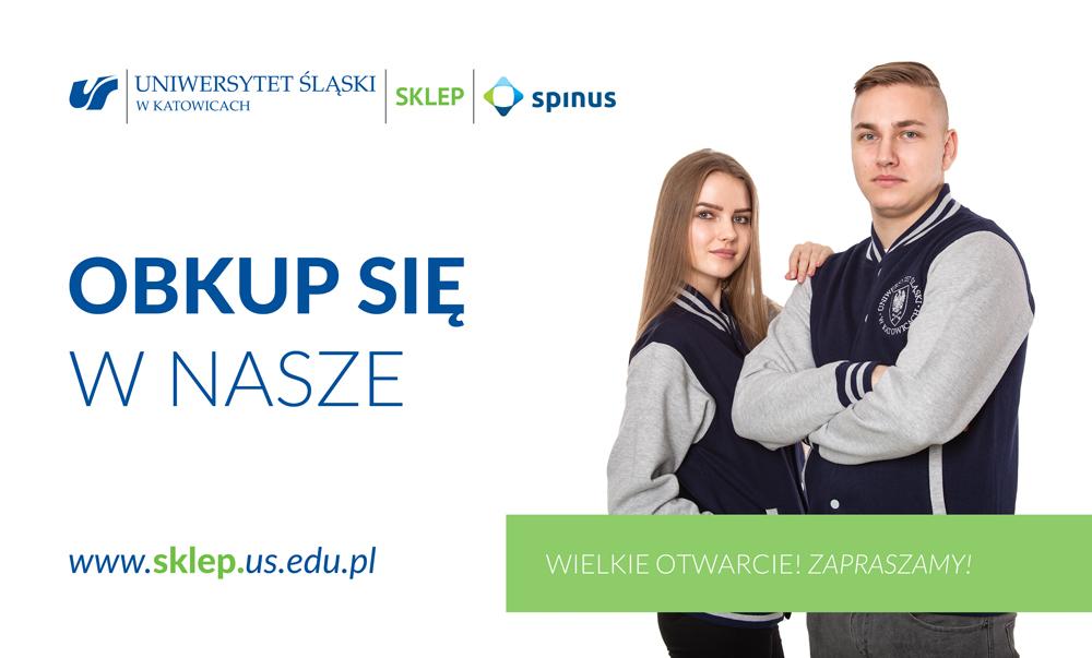 Dwójka młodych ludzi w bluzach Uniwersytetu Ślaskiego