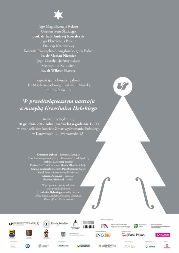 Plakat promujący koncert, zawiera program wydarzenia (zamieszczony w treści informacji powyżej) oraz element graficzny – choinkę