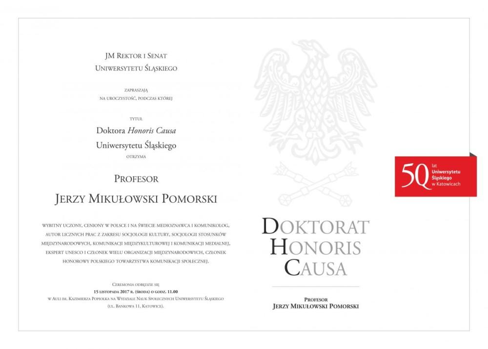 Afisz informujący o uroczystości, zwiera skrócony opis dokonań doktoranta honorowego
