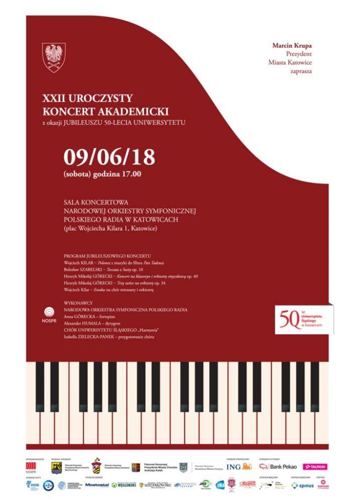 Plakat promujący XXII uroczysty koncert akademicki z okazji jubileuszu Uniwersytetu Śląskiego