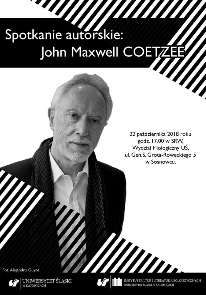 Plakat promujący spotkanie autorskie z prof. Johnem Maxwellem Coetzeem
