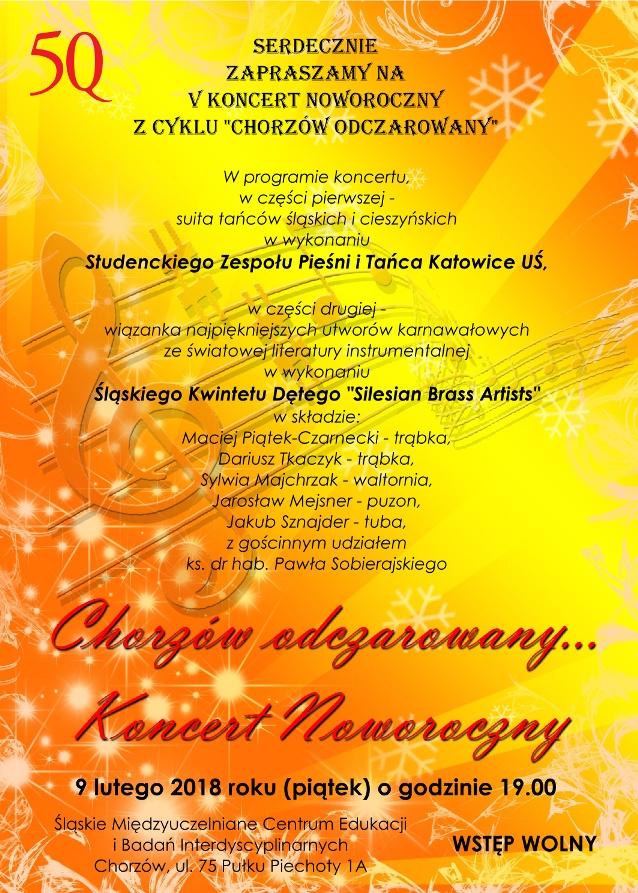 Plakat stanowiący zaproszenie na koncert, żółto-pomarańczowe tło, grafika zawiera tekst zaproszenia