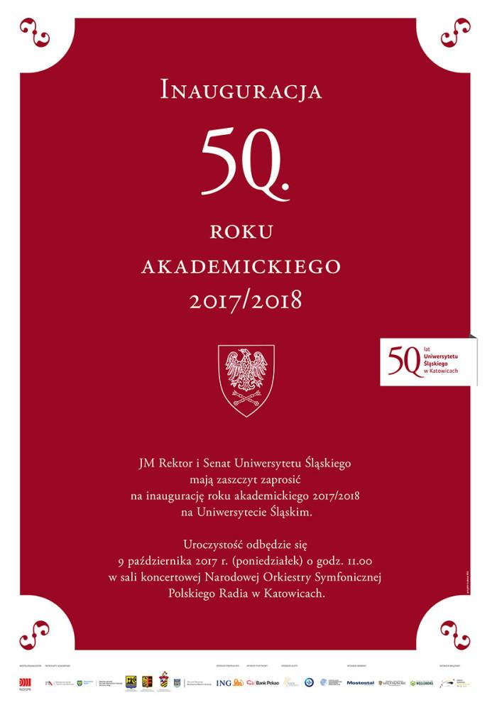 Plakat promujący jubileuszową inaugurację, zawiera podstawowe dane na temat wydarzenia