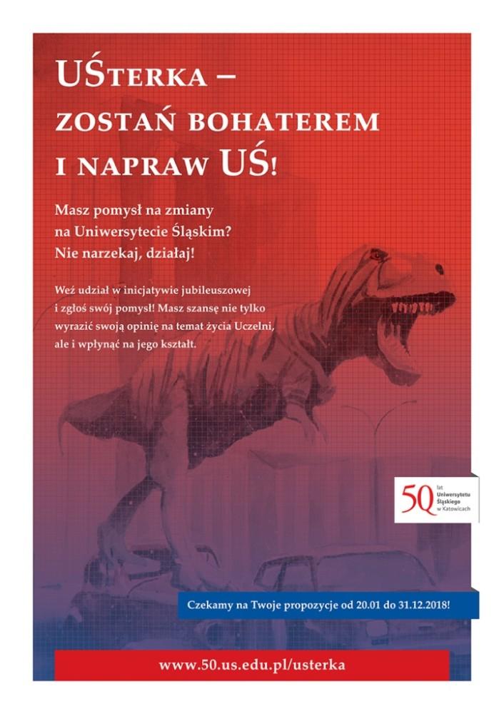 Plakat promujący akcję studencką (grafika: w tle dinozaur – figura stojąca przed budynkiem jednego z wydziałów UŚ)
