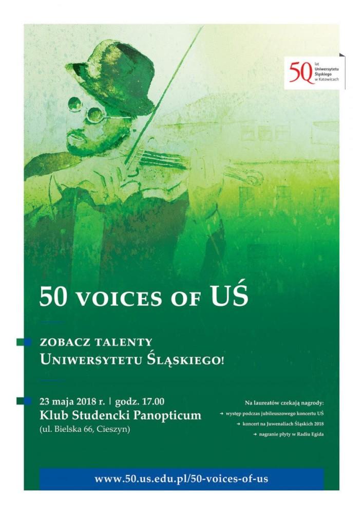 Plakat promujący koncert 50 Voices of UŚ w Cieszynie